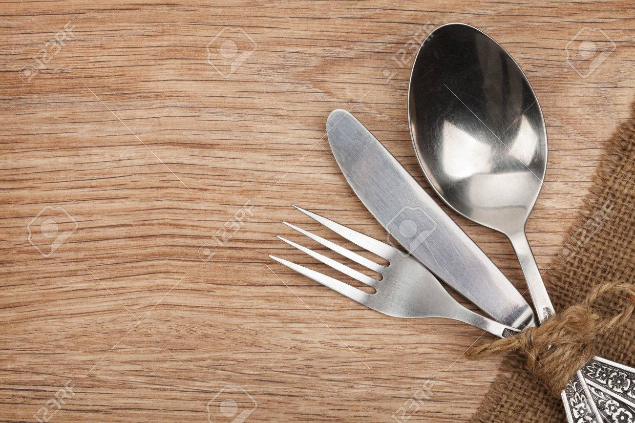 Silverware Or Flatware Set Of Fork, Spoon And Knife On Wooden ...