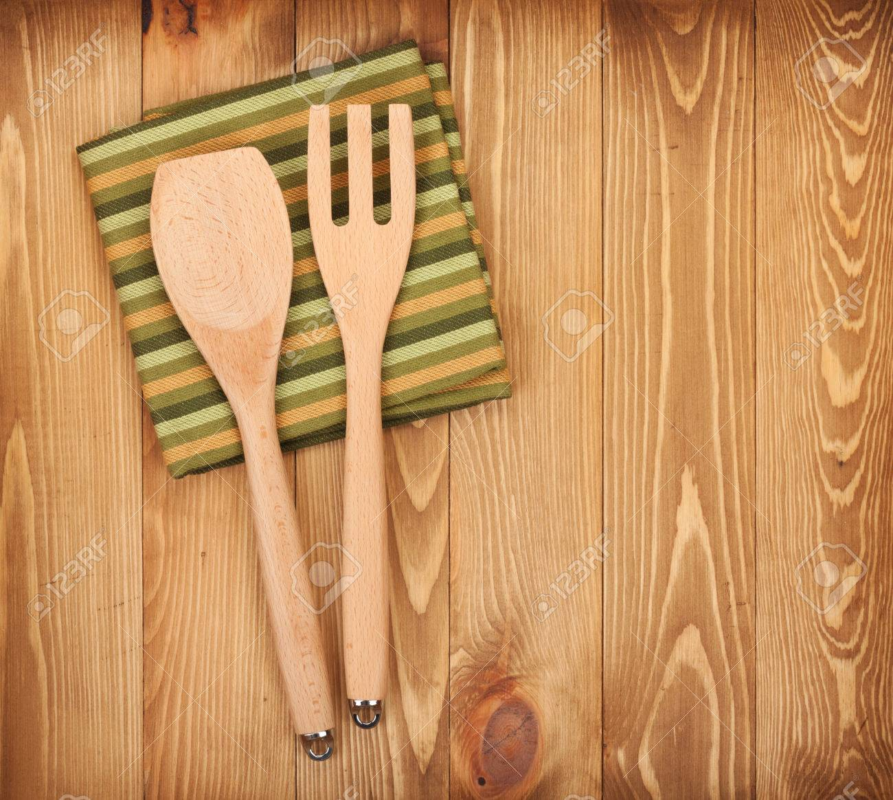 Kitchen Table Background kitchen utensils on wooden table background. view from above