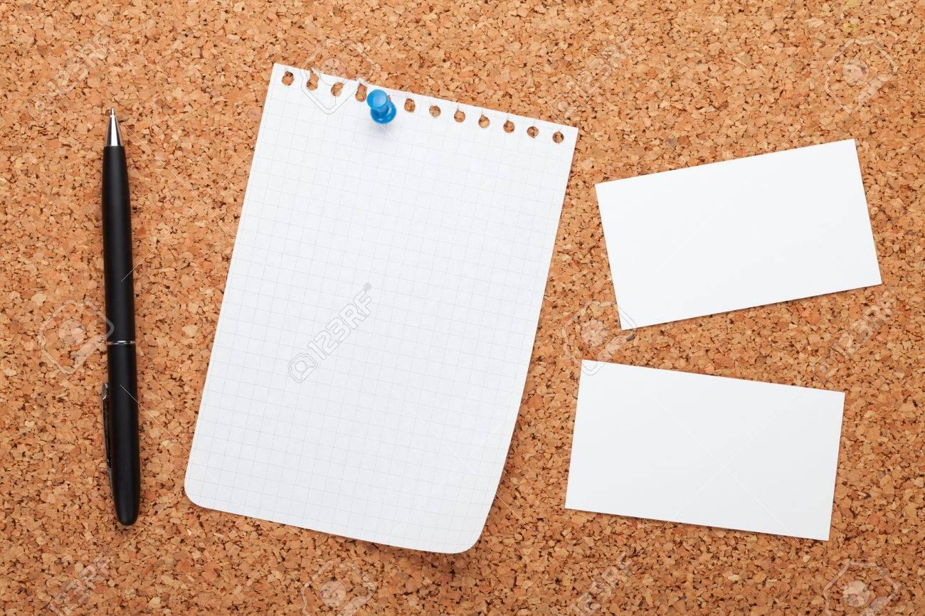 Papier Vierge Bloc Notes Cartes De Visite Et Stylo Sur Avis Du Bois