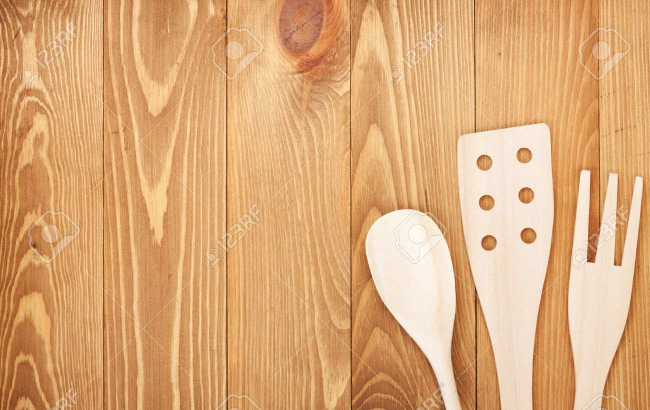Background image table - Kitchen Utensils On Wooden Table Background View From Above With Copy Space Stock Photo