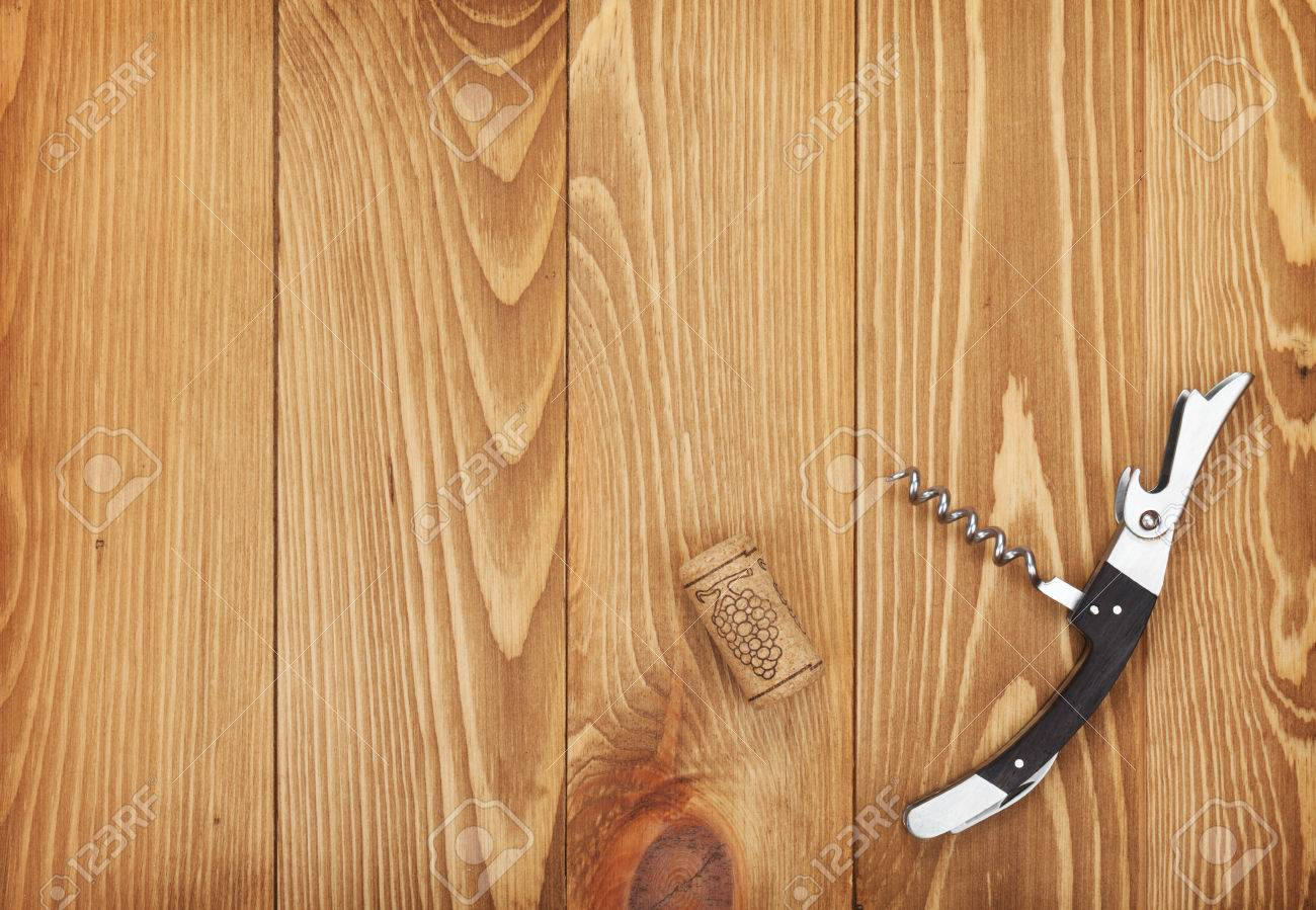 Corkscrew And Wine Cork On Wooden Table Background With Copy Space Stock  Photo   27661963