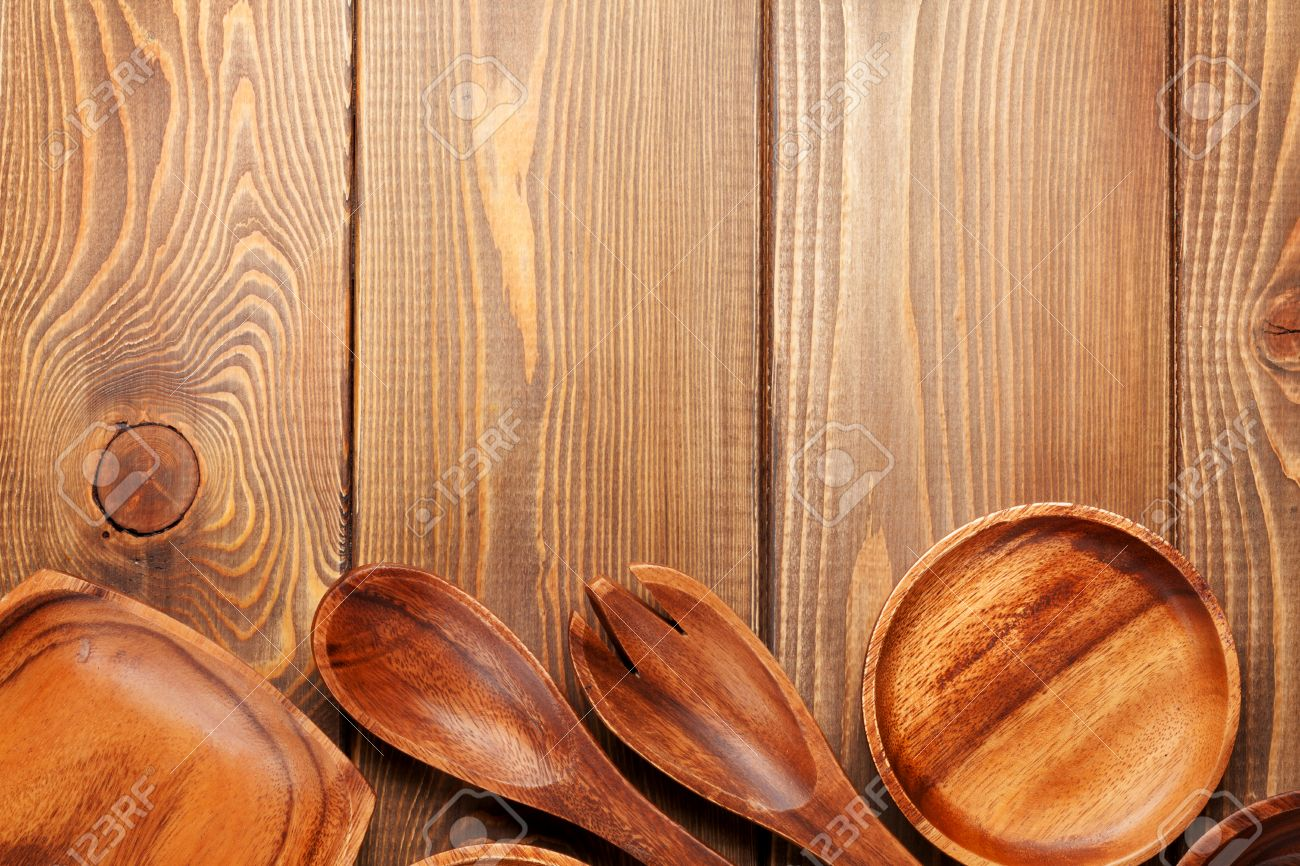 Stock Photo   Wood Kitchen Utensils Over Wooden Table Background With Copy  Space