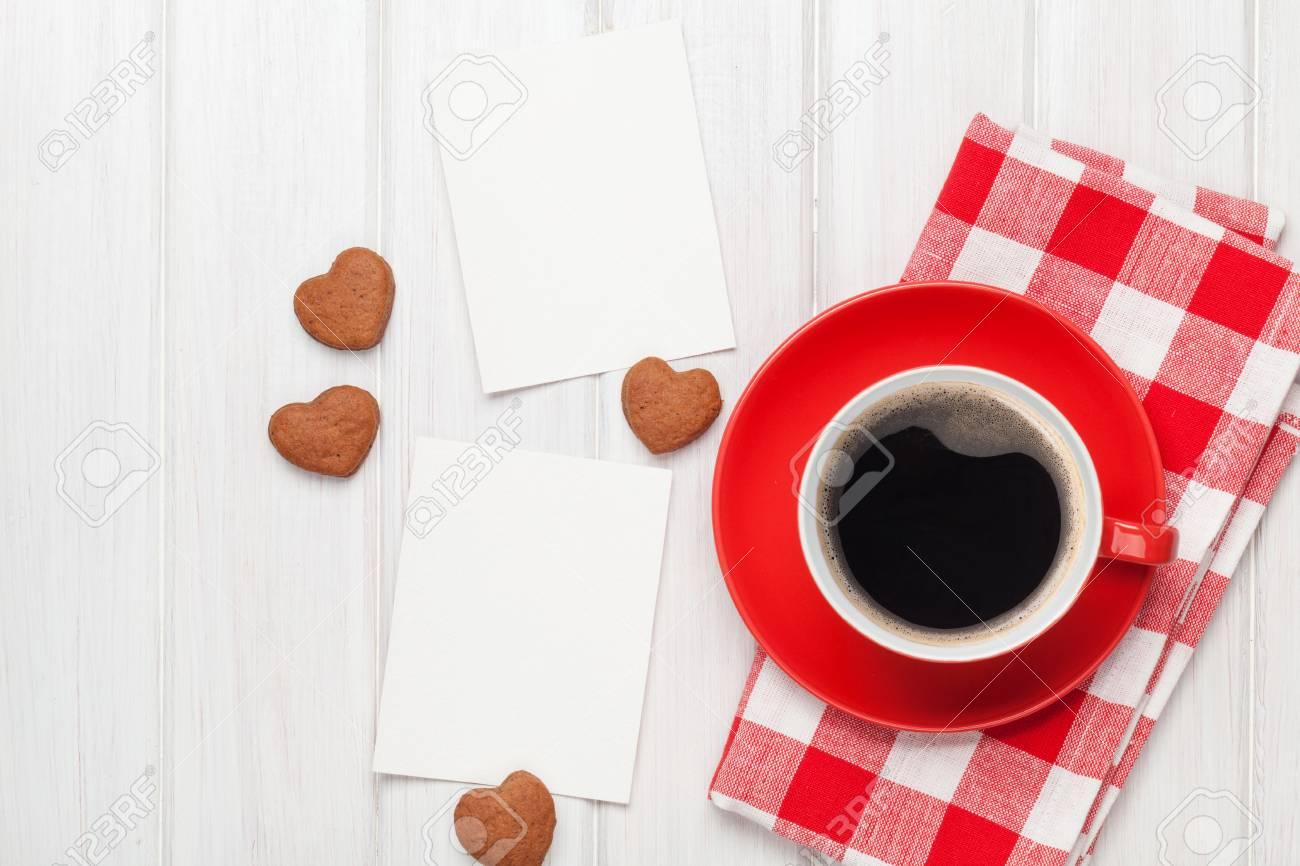 Valentines Marcos De Fotos En Blanco Día, La Taza De Café Y Galletas ...