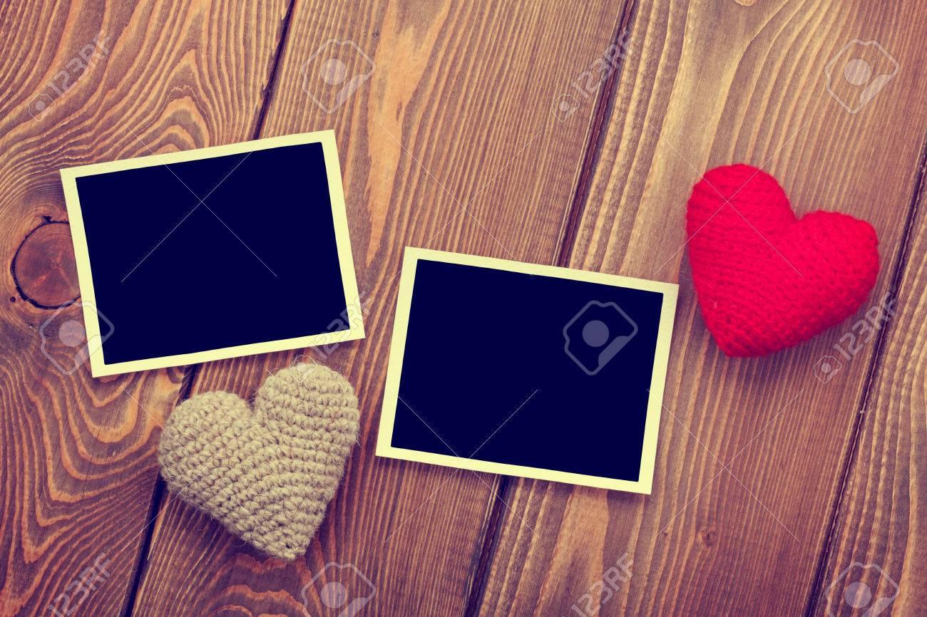 Marcos De Fotos Y Valentines Handmaded Corazones Juguete Día Sobre ...
