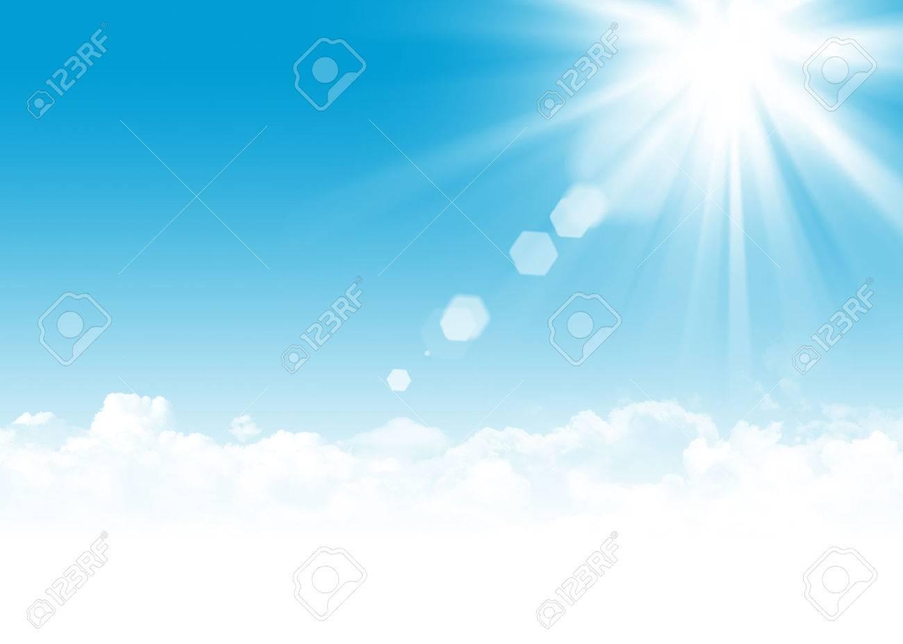 青い空と雲と太陽の抽象的な背景イラスト コピー スペースと
