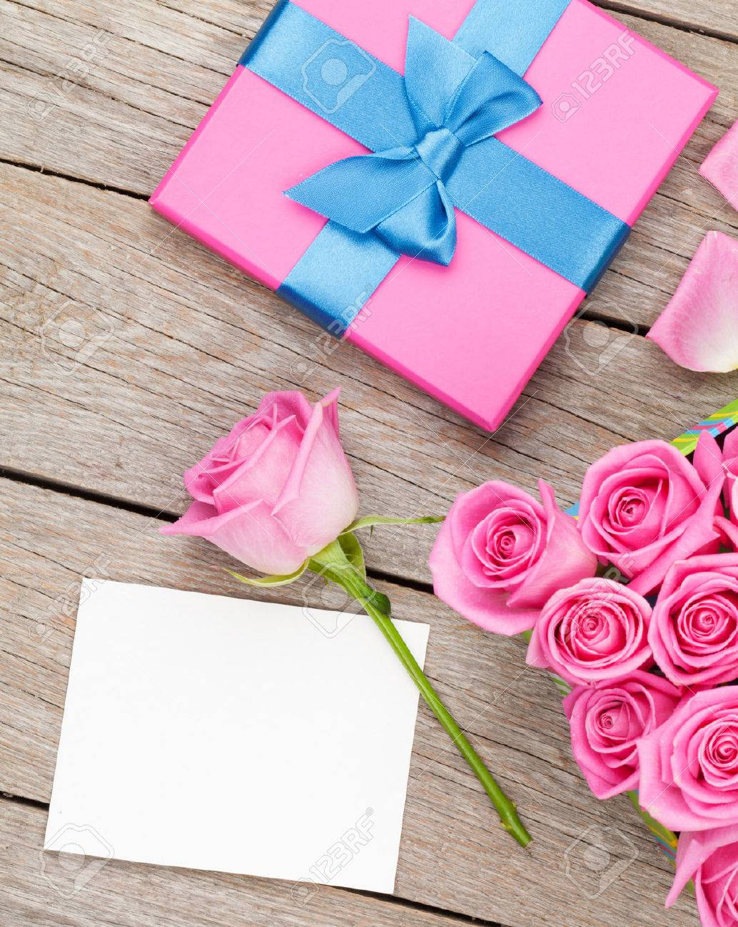 Pink Roses And Valentines Day Greeting Card Or Photo Frame And ...