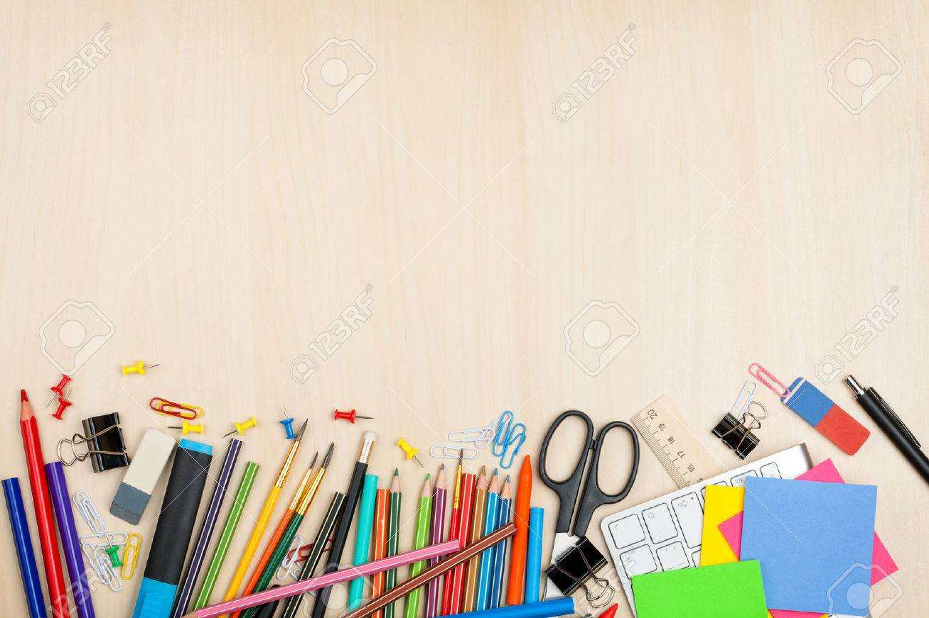 Beau School And Office Supplies Over Office Table. Top View With Copy Space  Stock Photo