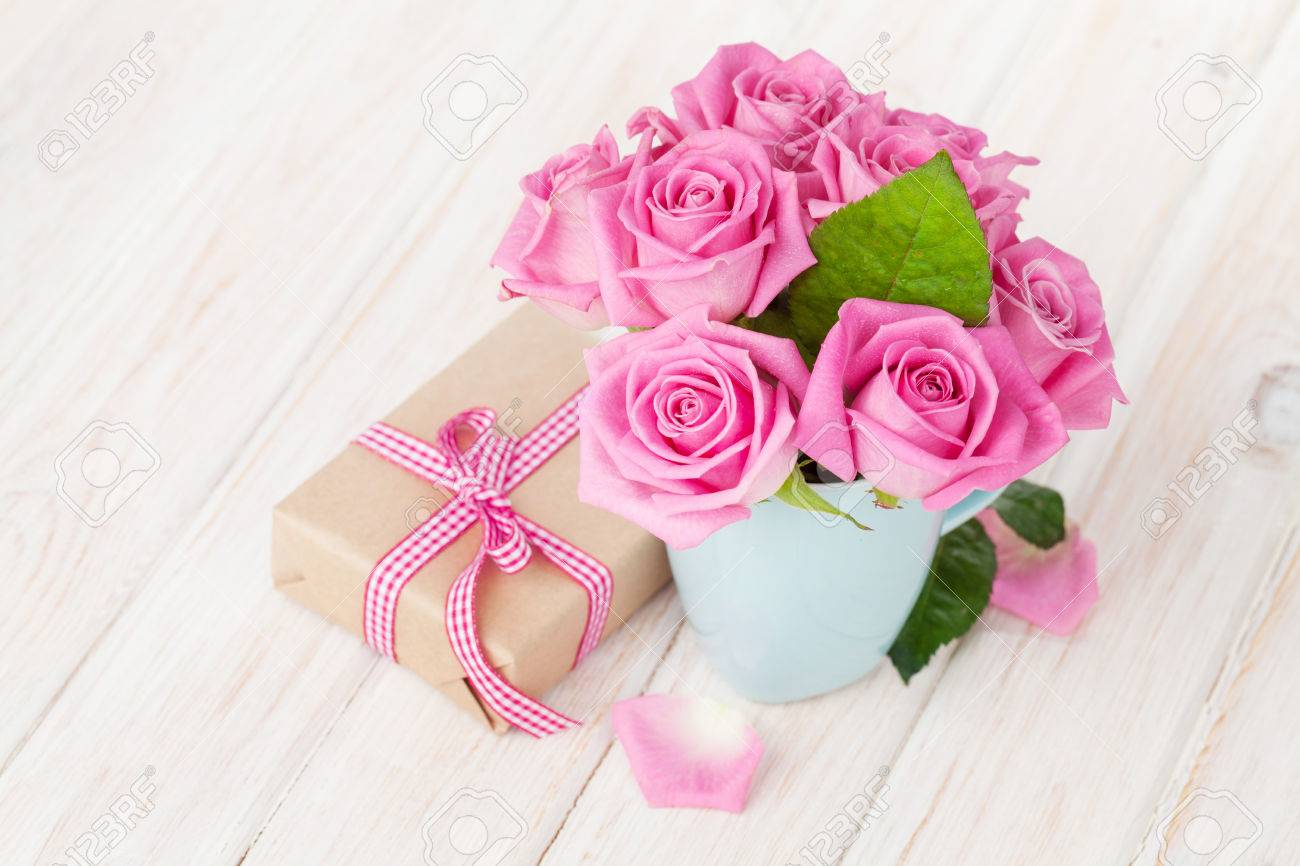 Valentines Day Pink Roses Bouquet And Gift Box On White Wooden ...