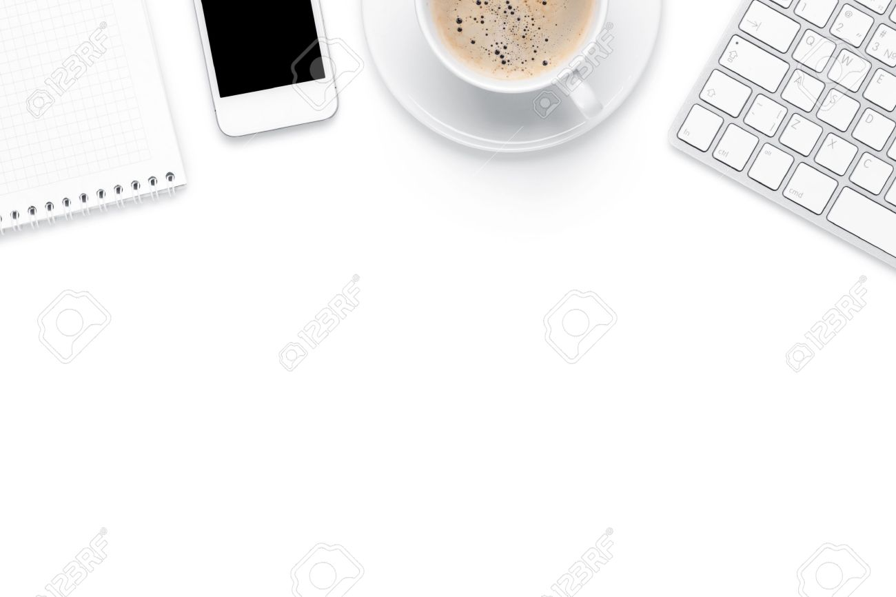 top office table cup. Office Desk Table With Computer, Supplies And Coffee Cup. Isolated On White Background. Top Cup