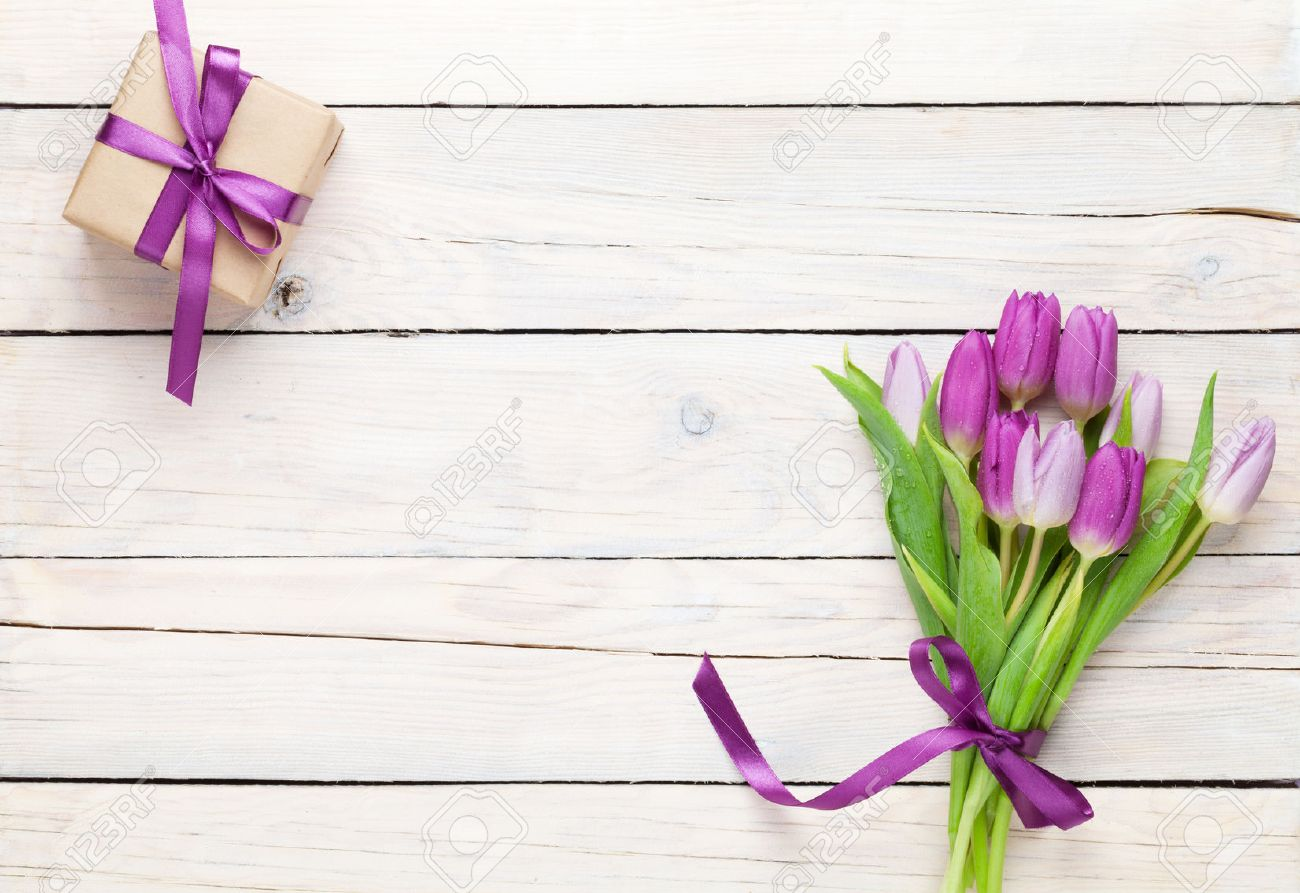 Wood table top view wooden table top view photo - Wood Table Top View Purple Tulips And Gift Box Over Wooden Table Top View