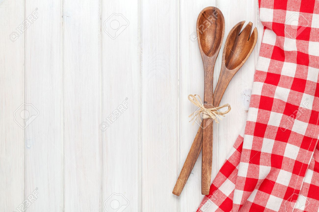 Kitchen Table Background Custom Kitchen Utensils Over White Wooden Table Backgroundview From Decorating Inspiration