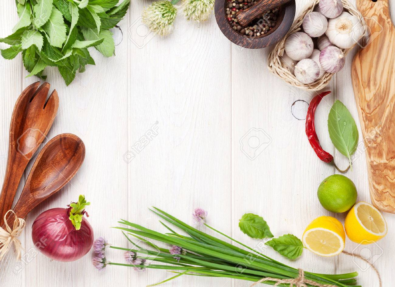 Fresh herbs and spices on wooden table. Top view with copy space Stock Photo - 41540035