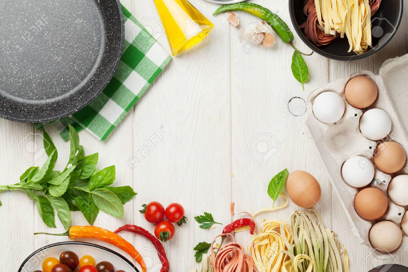 Kitchen table top view - Kitchen Table Top View Pasta Cooking Ingredients And Utensils On Wooden Table Top View