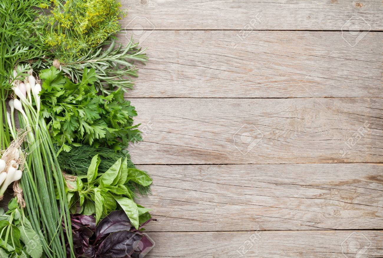 Wood table top view wooden table top view photo - Fresh Garden Herbs On Wooden Table Top View With Copy Space Stock Photo 43447614