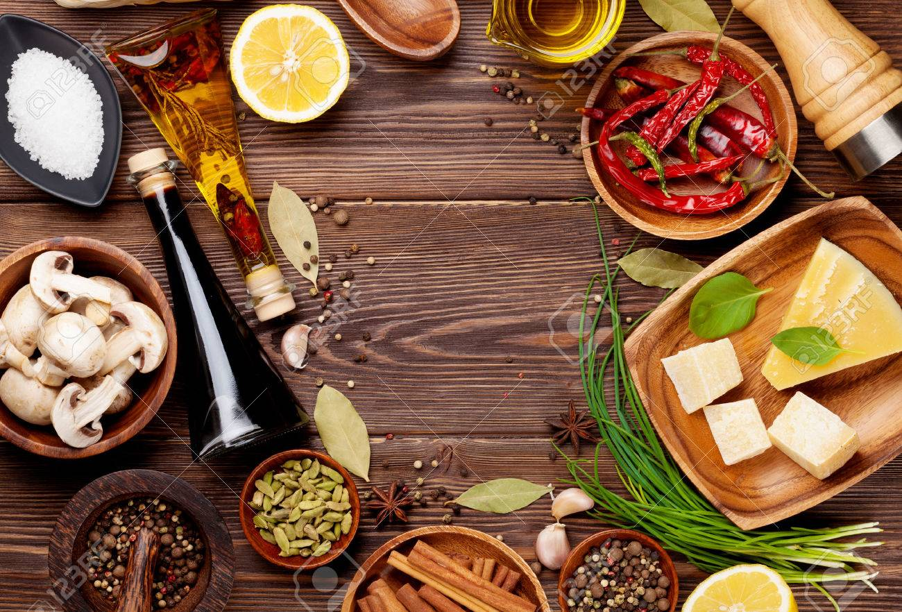 Various spices on wooden background. Top view with copy space Stock Photo - 45810947