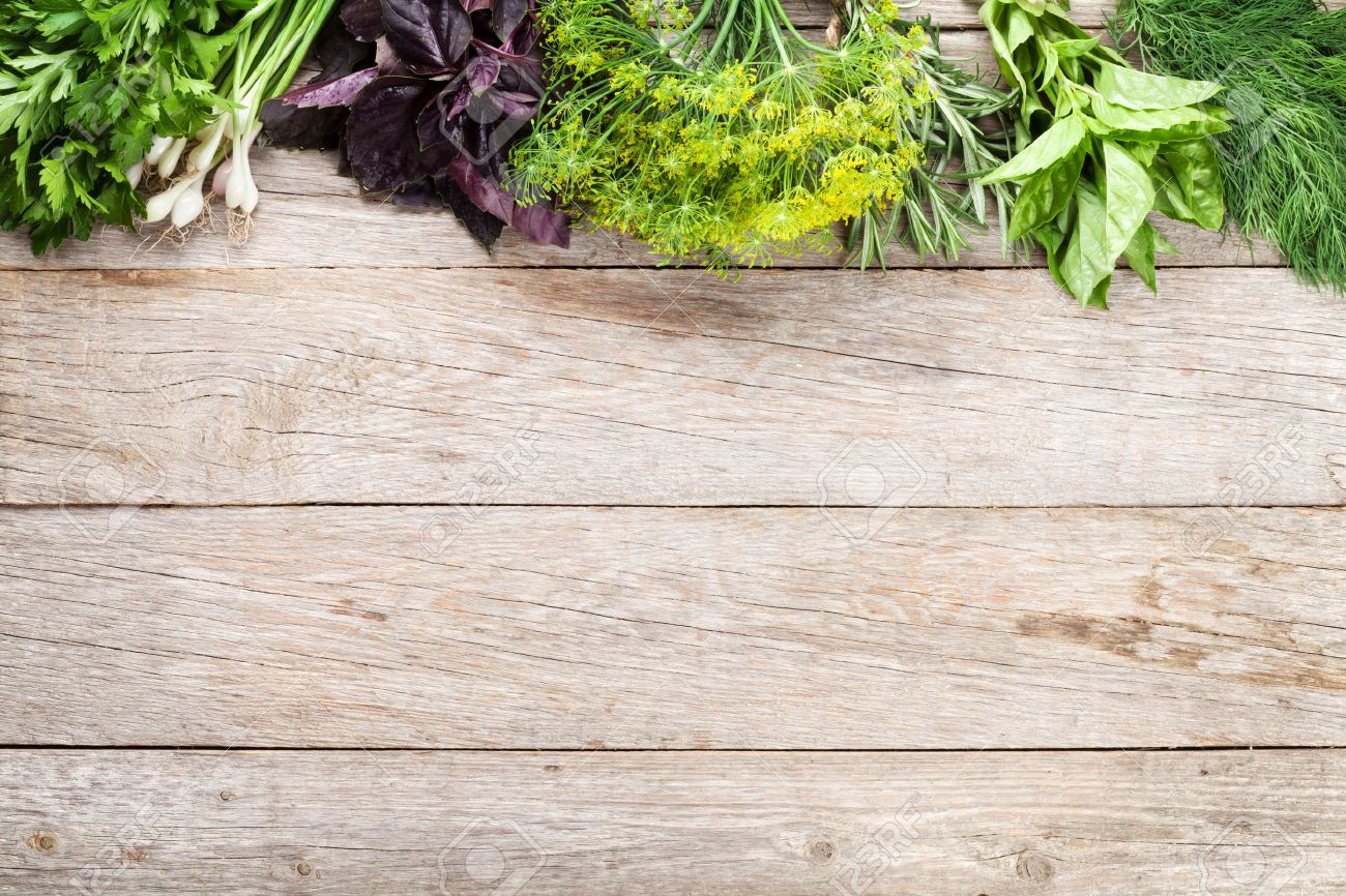 Wood table top view wooden table top view photo - Fresh Garden Herbs On Wooden Table Top View With Copy Space Stock Photo 47499272
