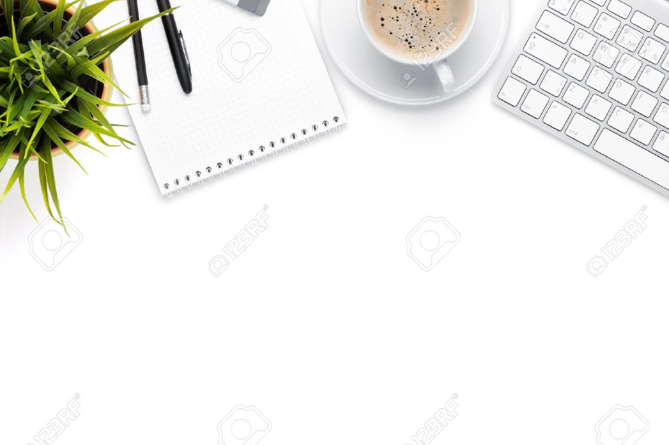 top office table cup. Office Desk Table With Computer, Supplies, Coffee Cup And Flower. Isolated On White Top I