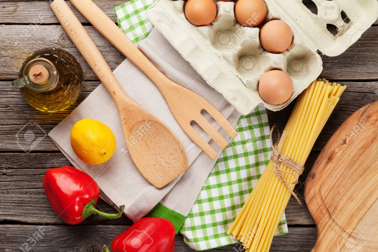 Cooking utensils and ingredients on wooden table. Top view - 50679594