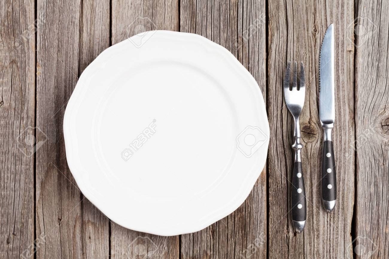 Wood table top view wooden table top view photo - Empty Plate And Silverware On Wooden Table Top View Stock Photo 50904939