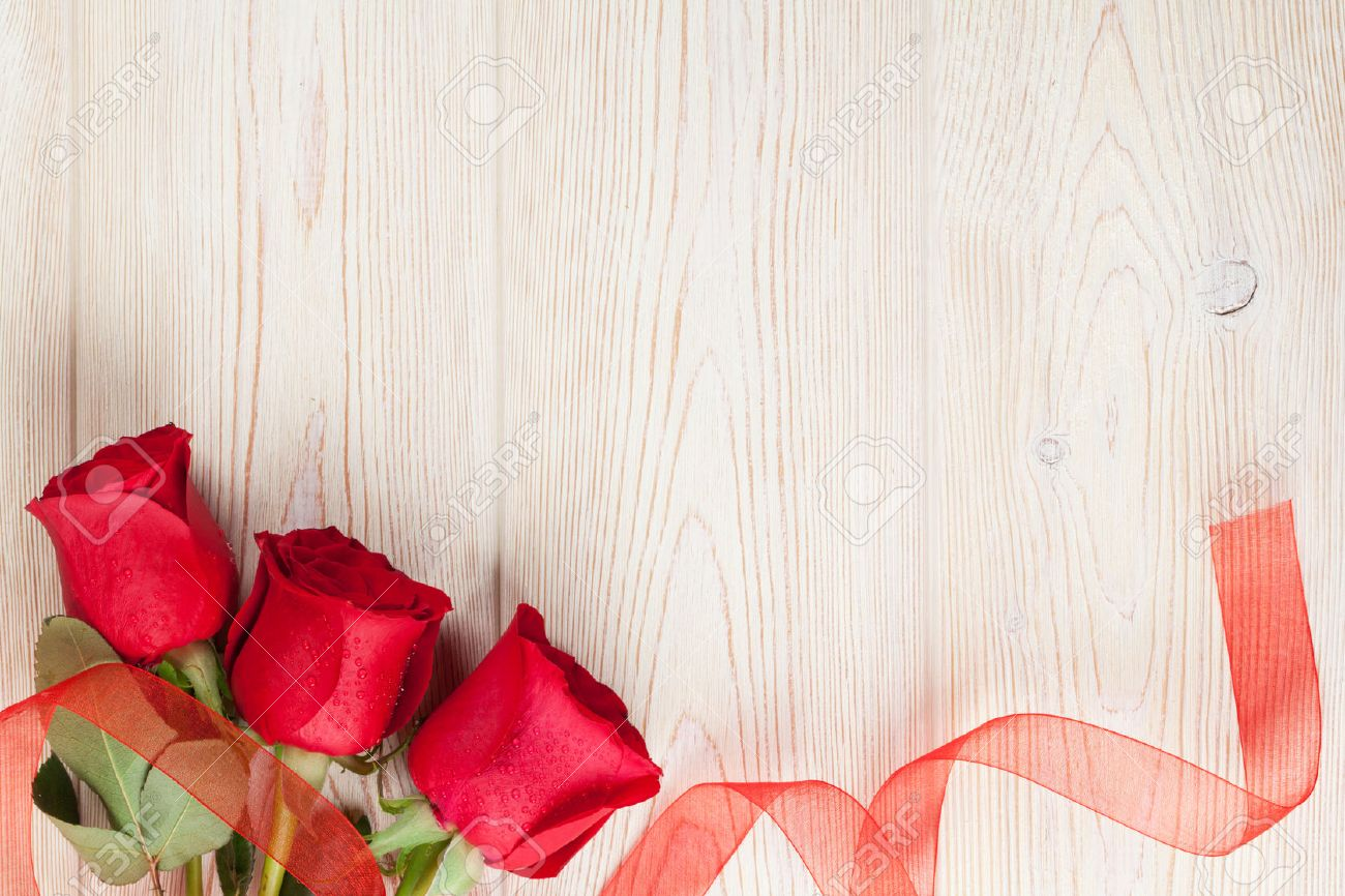 Red Roses On Wooden Background Valentines Day Background