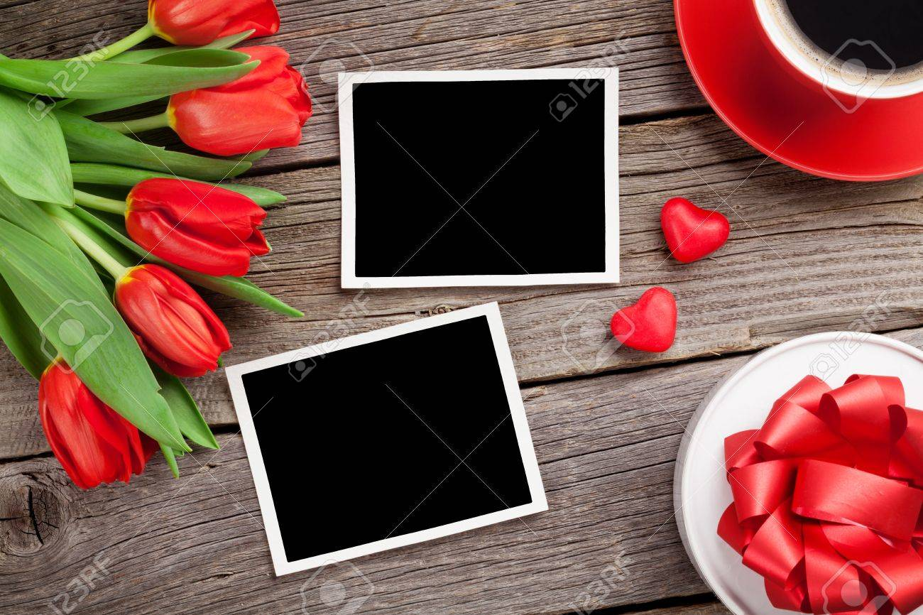 Red Tulips, Gift Box And Valentine\'s Day Photo Frames. Top View ...