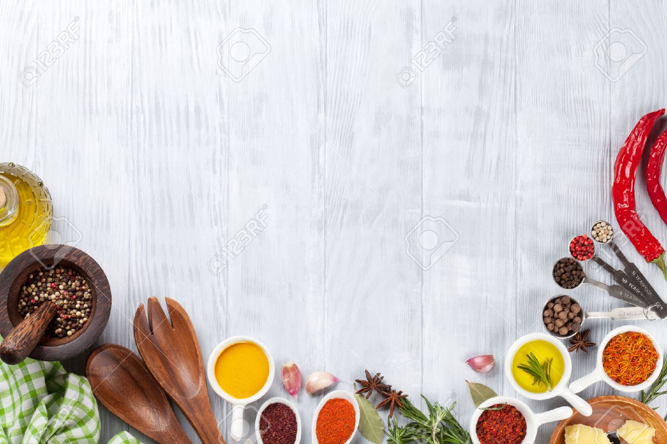Herbs and spices over wood background. Top view with copy space - 51528535