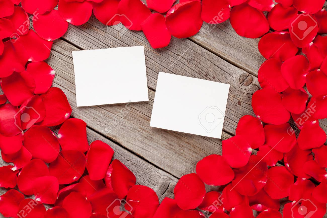 Valentines Day Blank Photo Frames Over Wooden Background And.. Stock ...