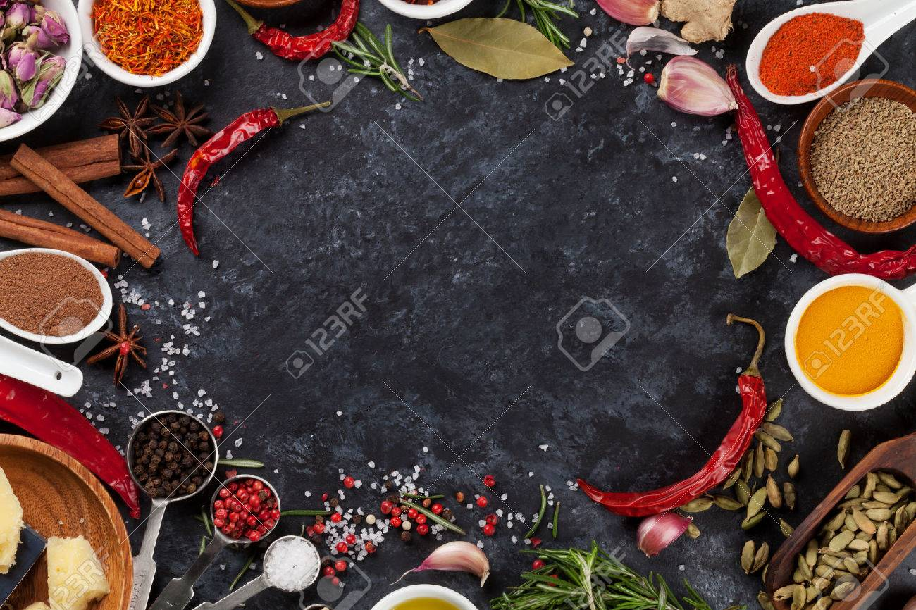 Herbs, condiments and spices on stone background. Top view with copy space - 52148172