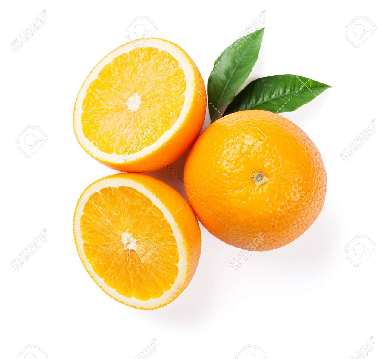 Fresh ripe oranges. Isolated on white background. Top view Standard-Bild - 55094617