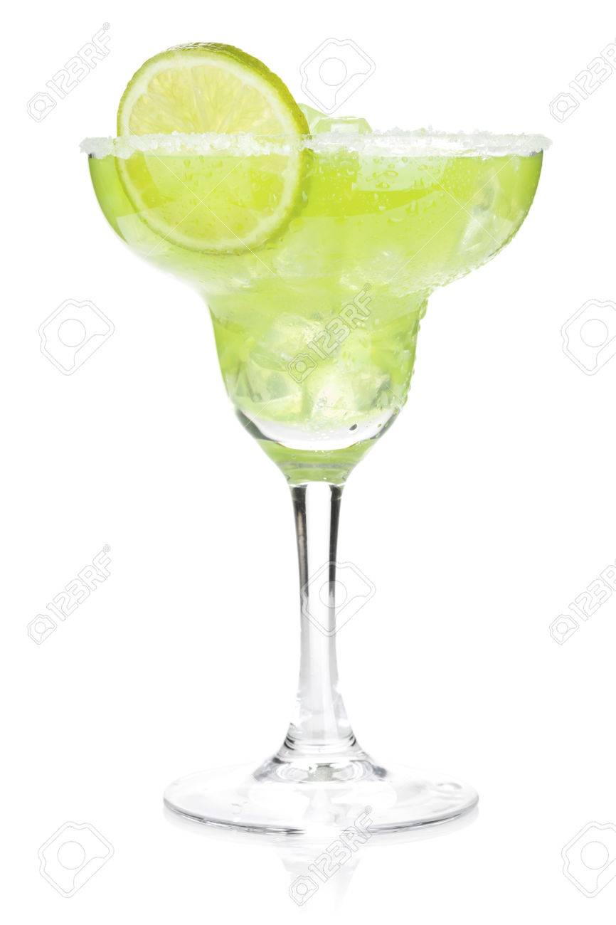Classic margarita cocktail with salty rim. Isolated on white background Standard-Bild - 57561408