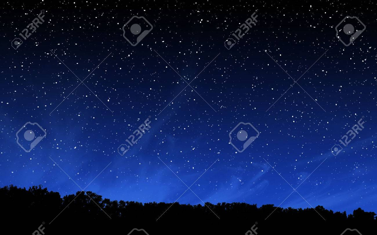 Deep night sky with many stars over forest background Standard-Bild - 59668096
