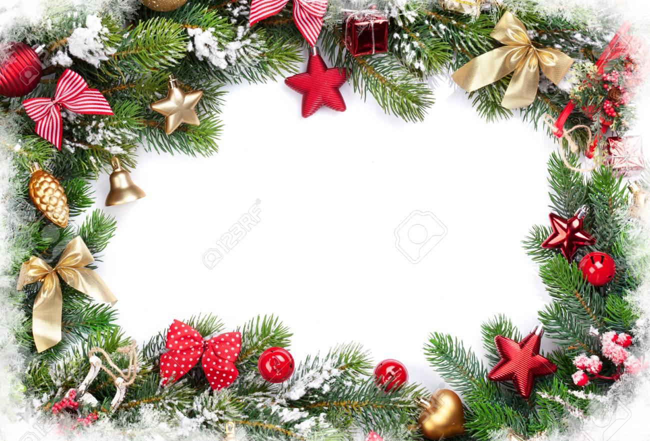 Weihnachten Rahmen Hintergrund Mit Kugeln Dekor Und Schnee Tanne ...