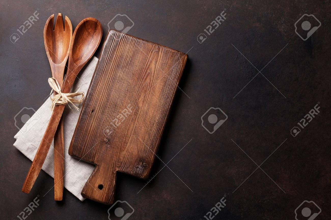 Vecchi Utensili Da Cucina D\'epoca. Vista Dall\'alto Con Lo Spazio ...