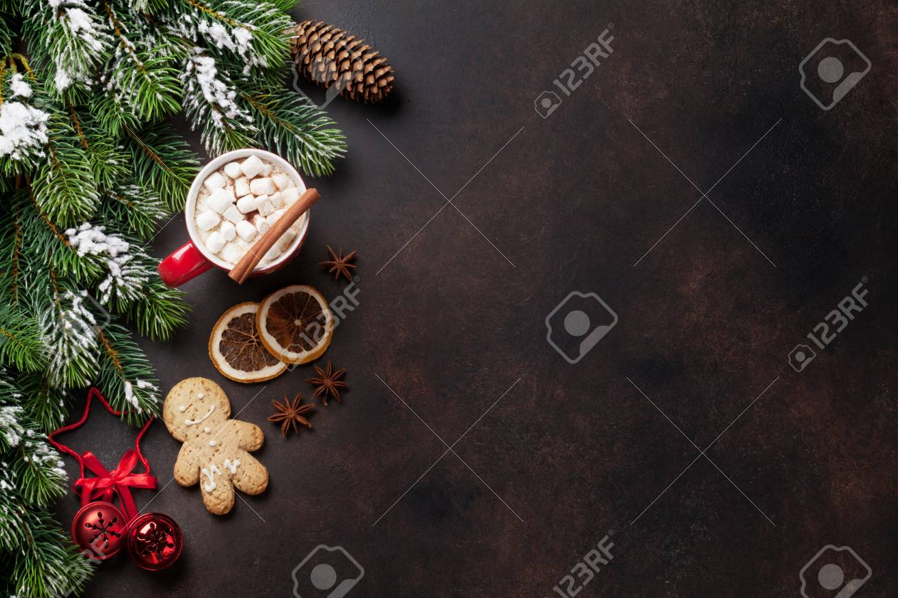 Christmas background with fir tree, hot chocolate and marshmallow
