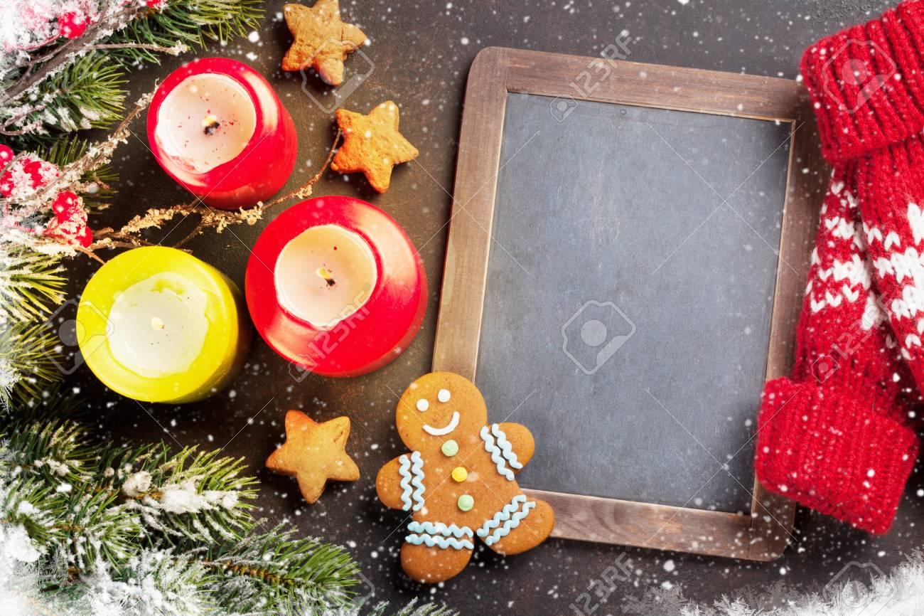 Xmas Greeting Card. Christmas Background With Snow Fir Tree,.. Stock ...