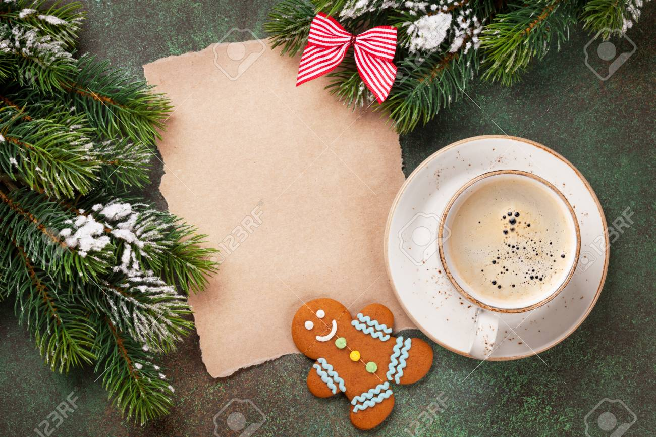 Coffee Christmas Tree.Piece Of Paper For Christmas Wishes Coffee Cup And Snow Xmas