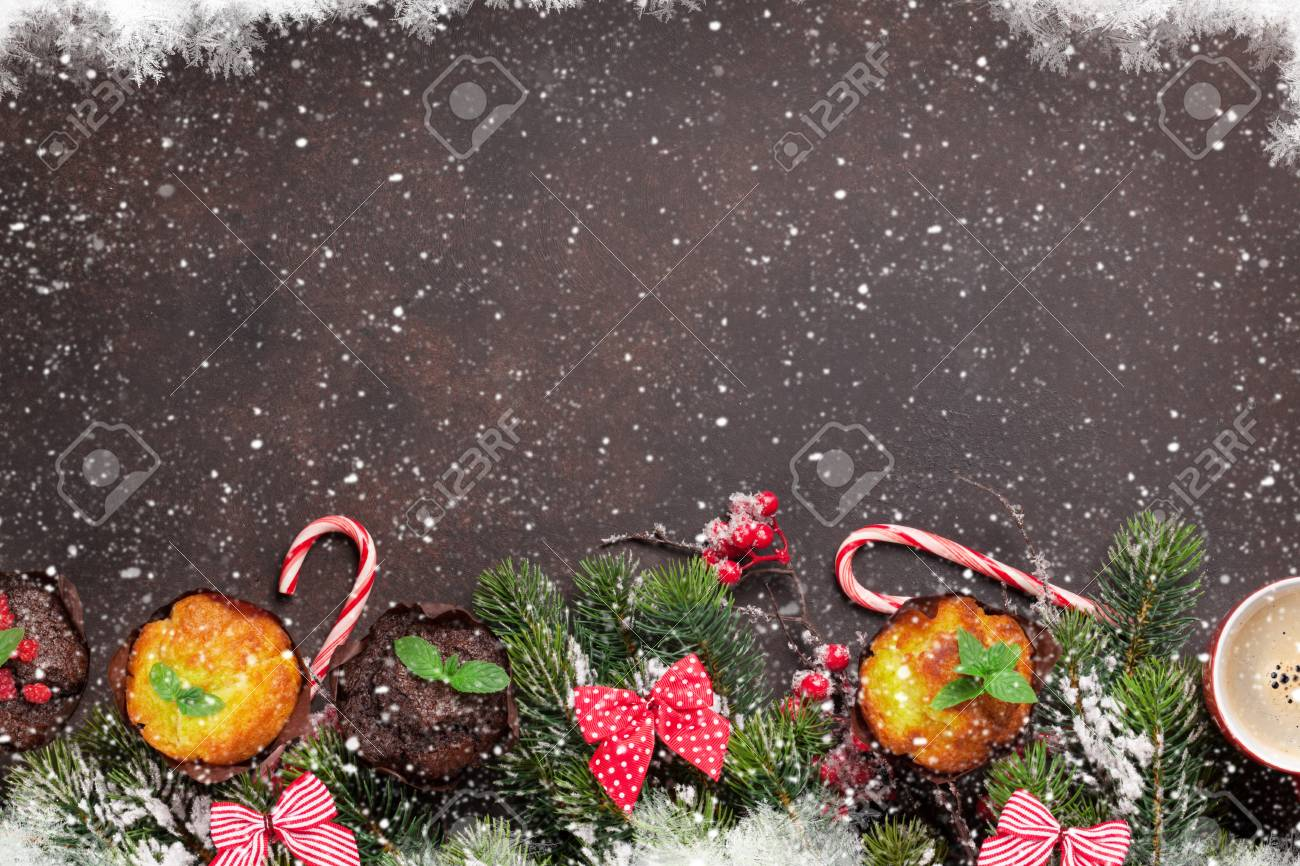 Christmas Greeting Card With Xmas Tree Muffins And Coffee Top