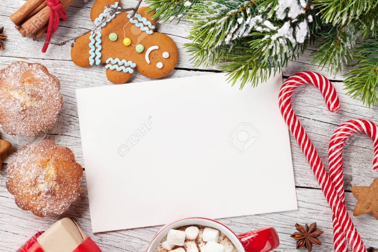Christmas Greeting Card Decor Coffee And Snow Fir Tree Top