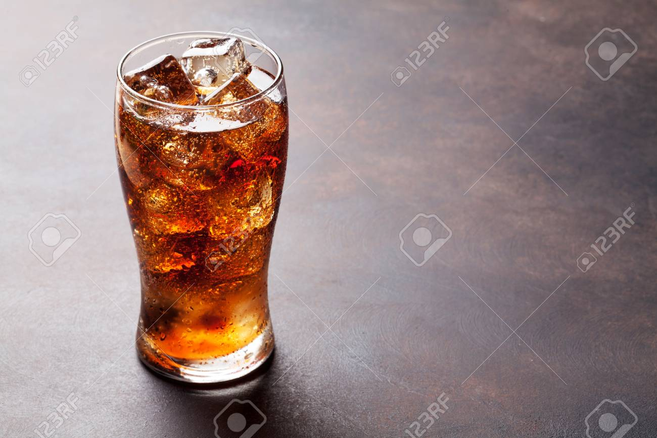Cola glass with ice cubes with copy space - 91246330