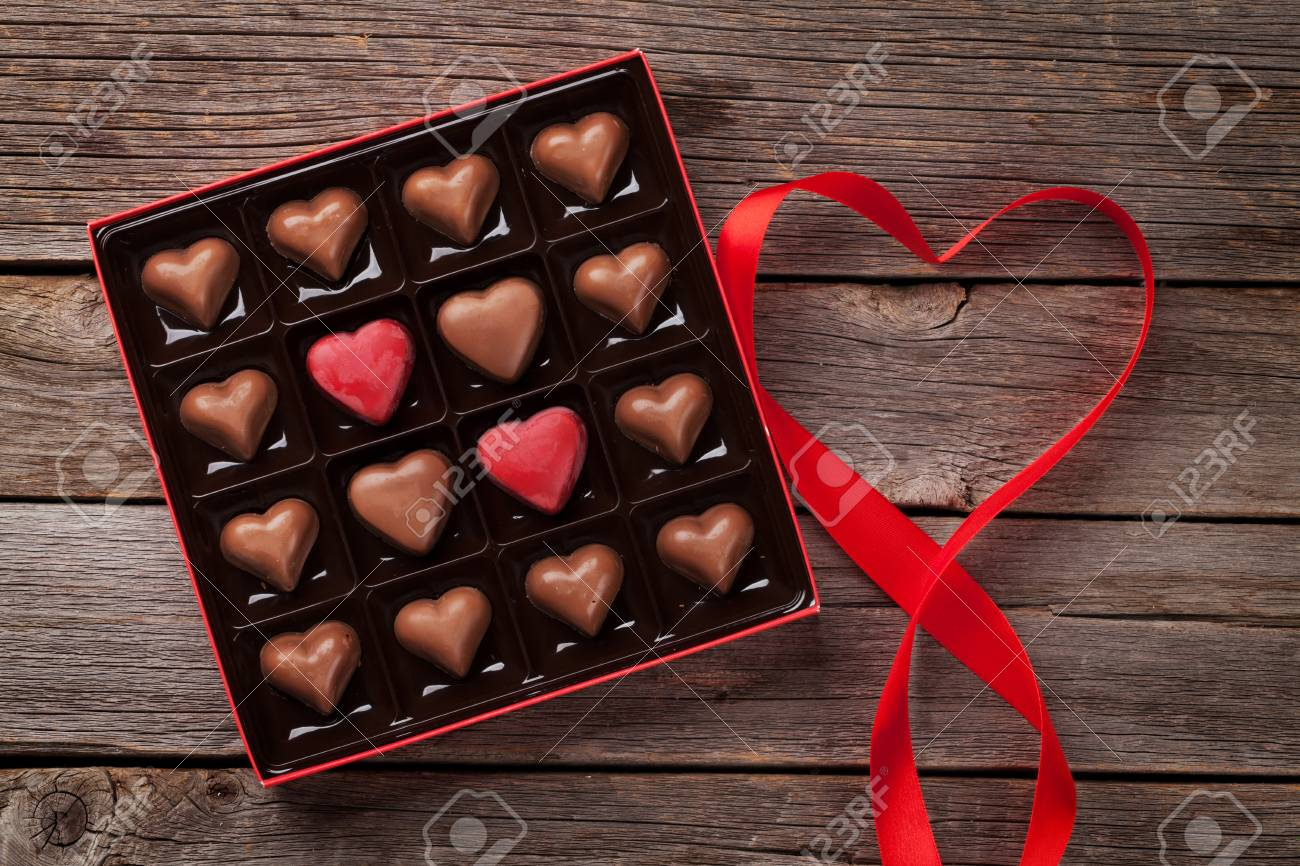 Valentines Day Greeting Card With Heart Chocolate Box On Wooden