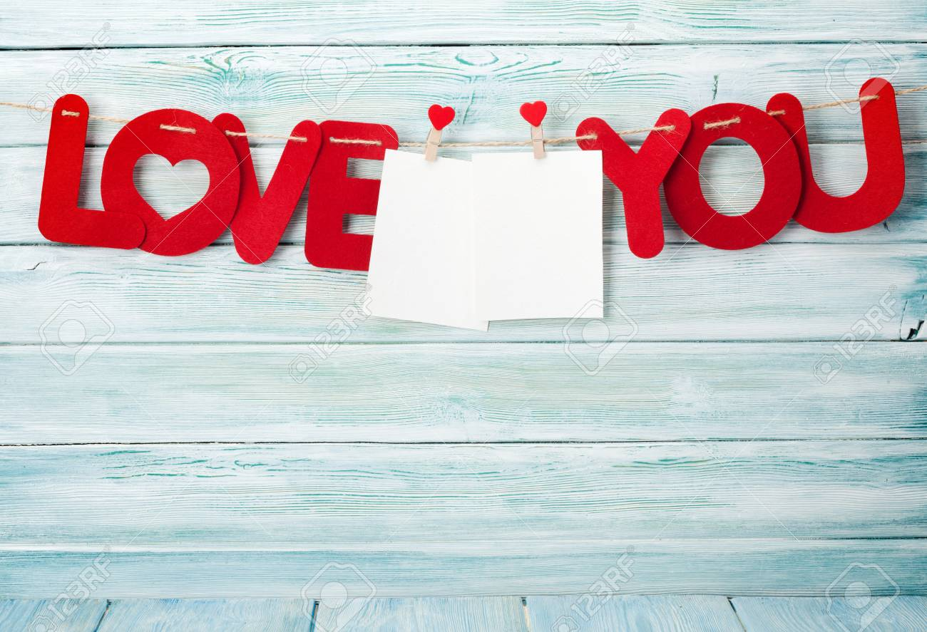 Valentines Day Greeting Card With Love You Words And Photo Frames