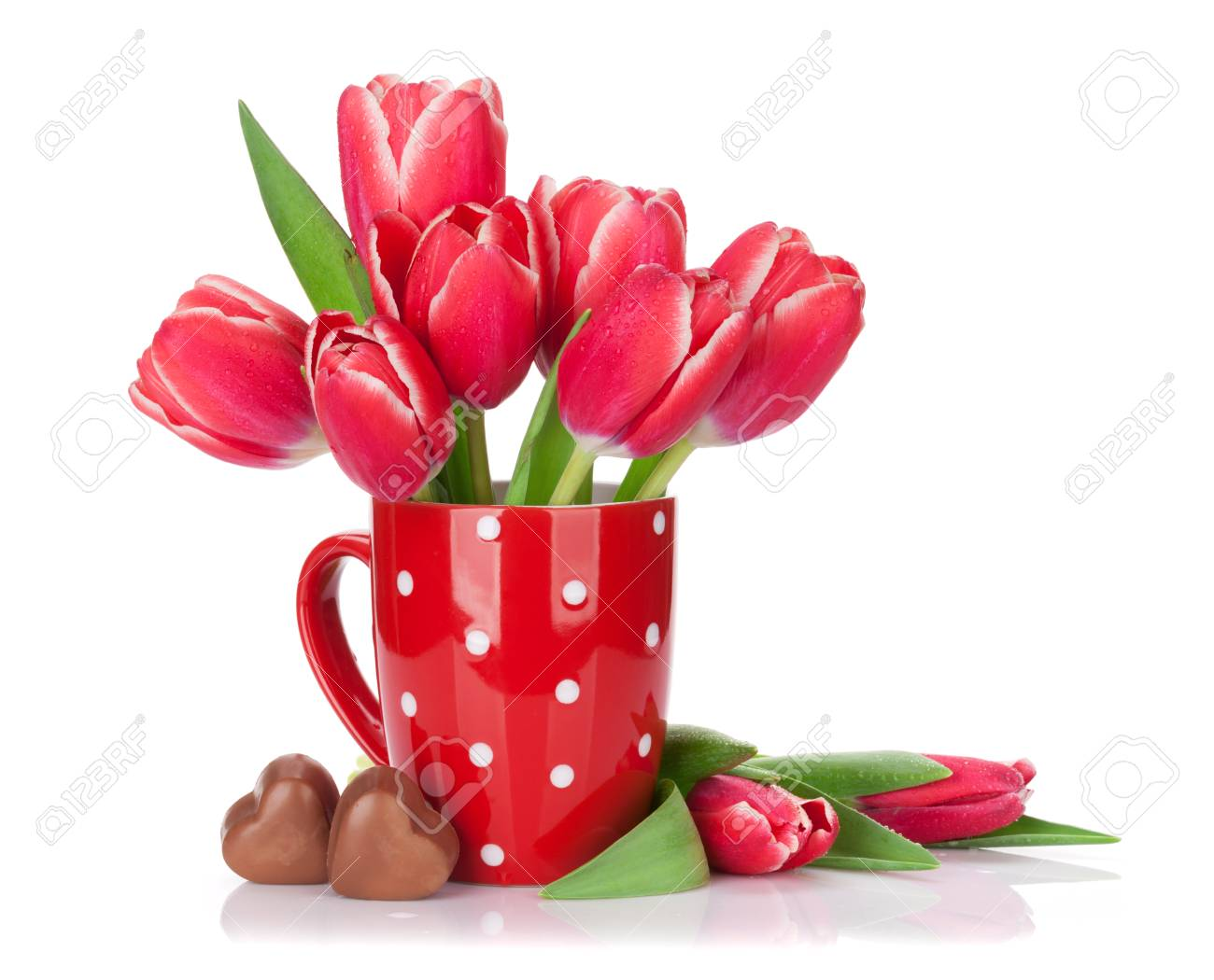 Red Tulip Flowers Bouquet In Cup And Chocolate Hearts. Valentine\'s ...