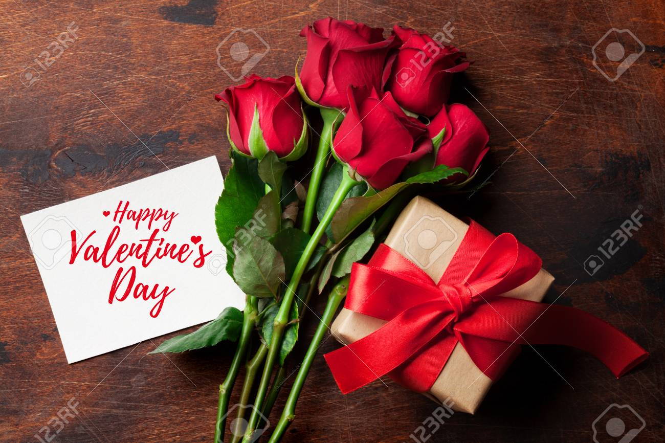 Valentine S Day Greeting Card With Red Rose Flowers Bouquet And Stock Photo Picture And Royalty Free Image Image 114796321