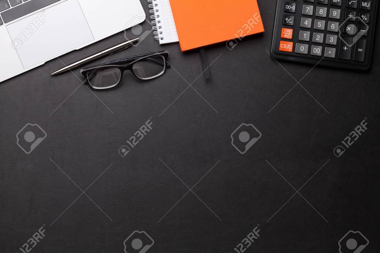 Office workplace table with supplies and computer. Flat lay. Top view with space for your goals - 122778613