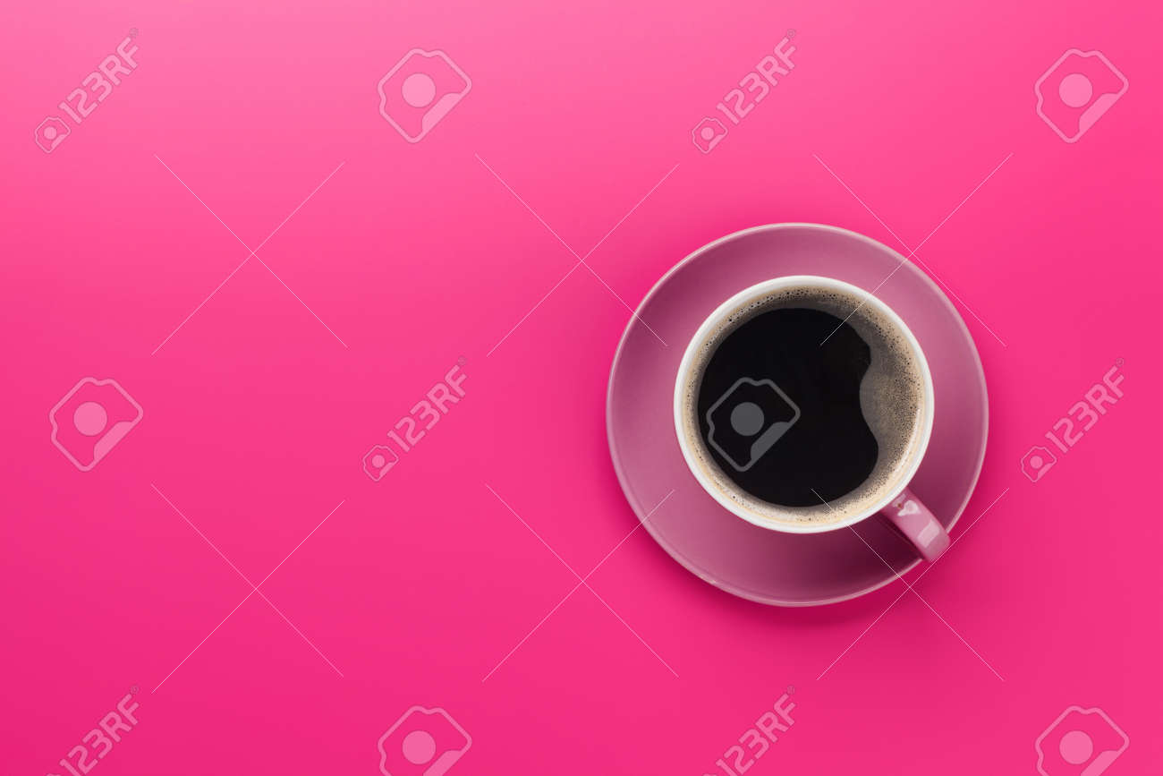 Purple coffee cup over purple background. Top view flat lay with copy space - 123516319