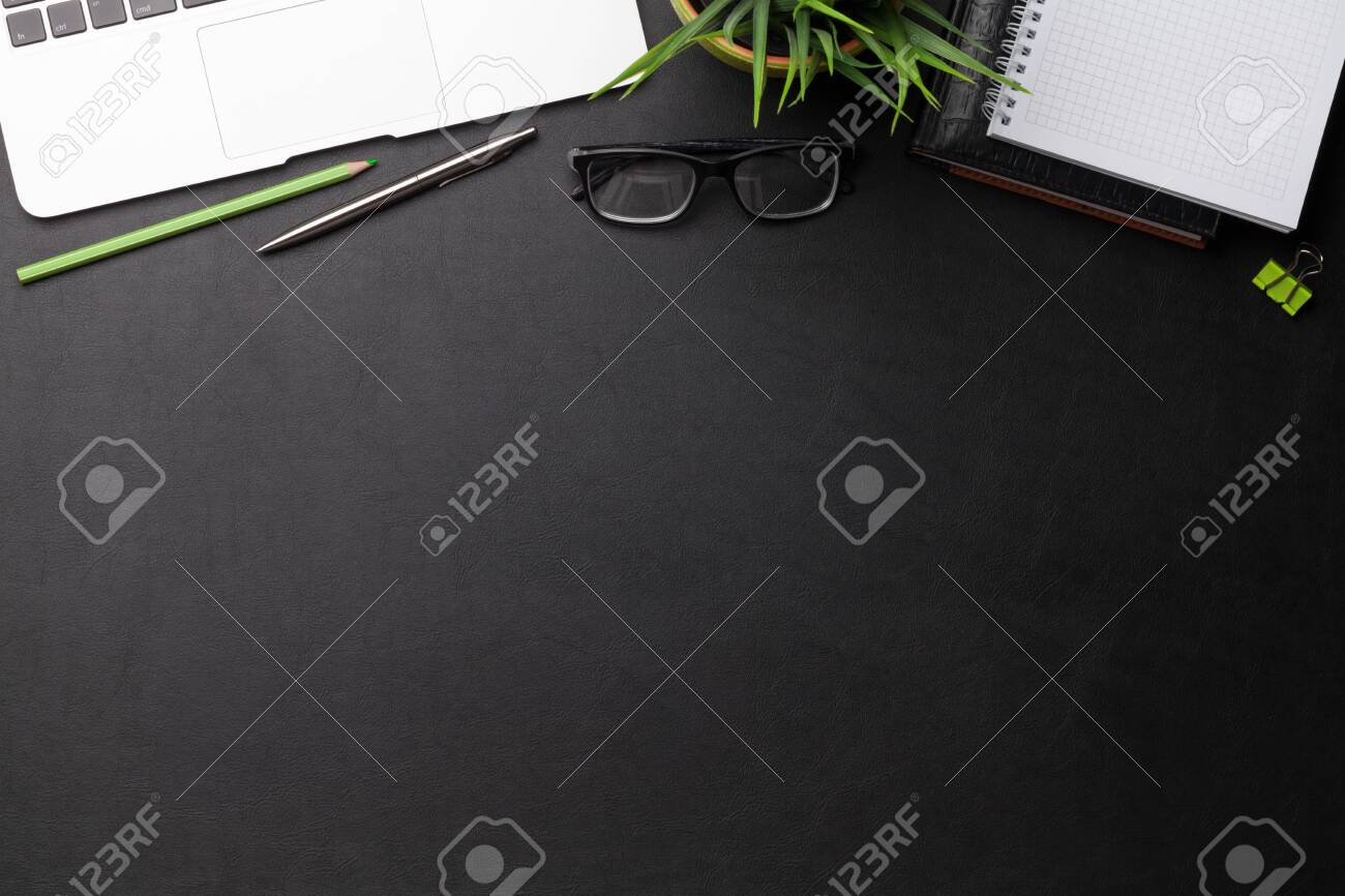 Office workplace table with supplies and computer. Flat lay. Top view with space for your goals - 124239655