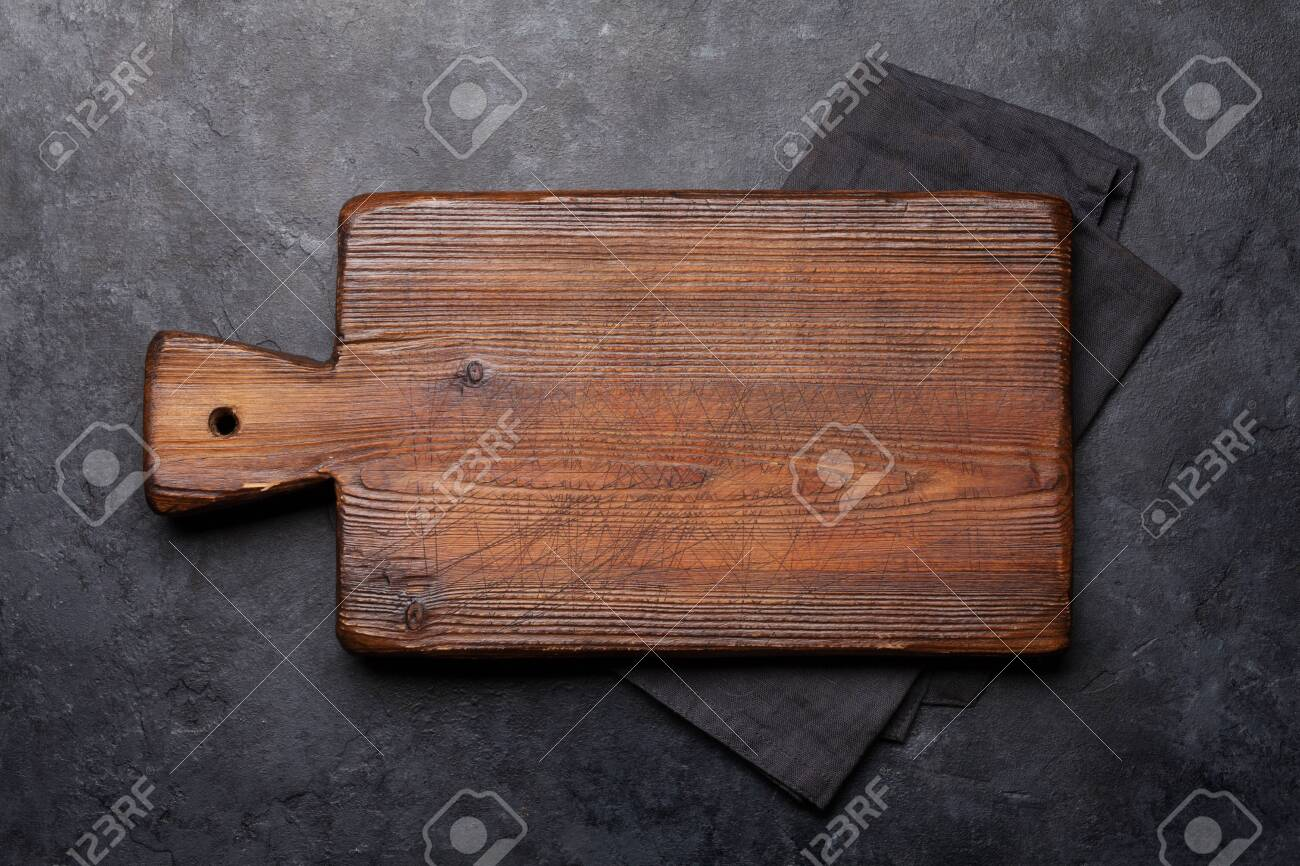 Cutting Board Over Towel On Stone Kitchen Table Top View Flat Stock Photo Picture And Royalty Free Image Image 130773295