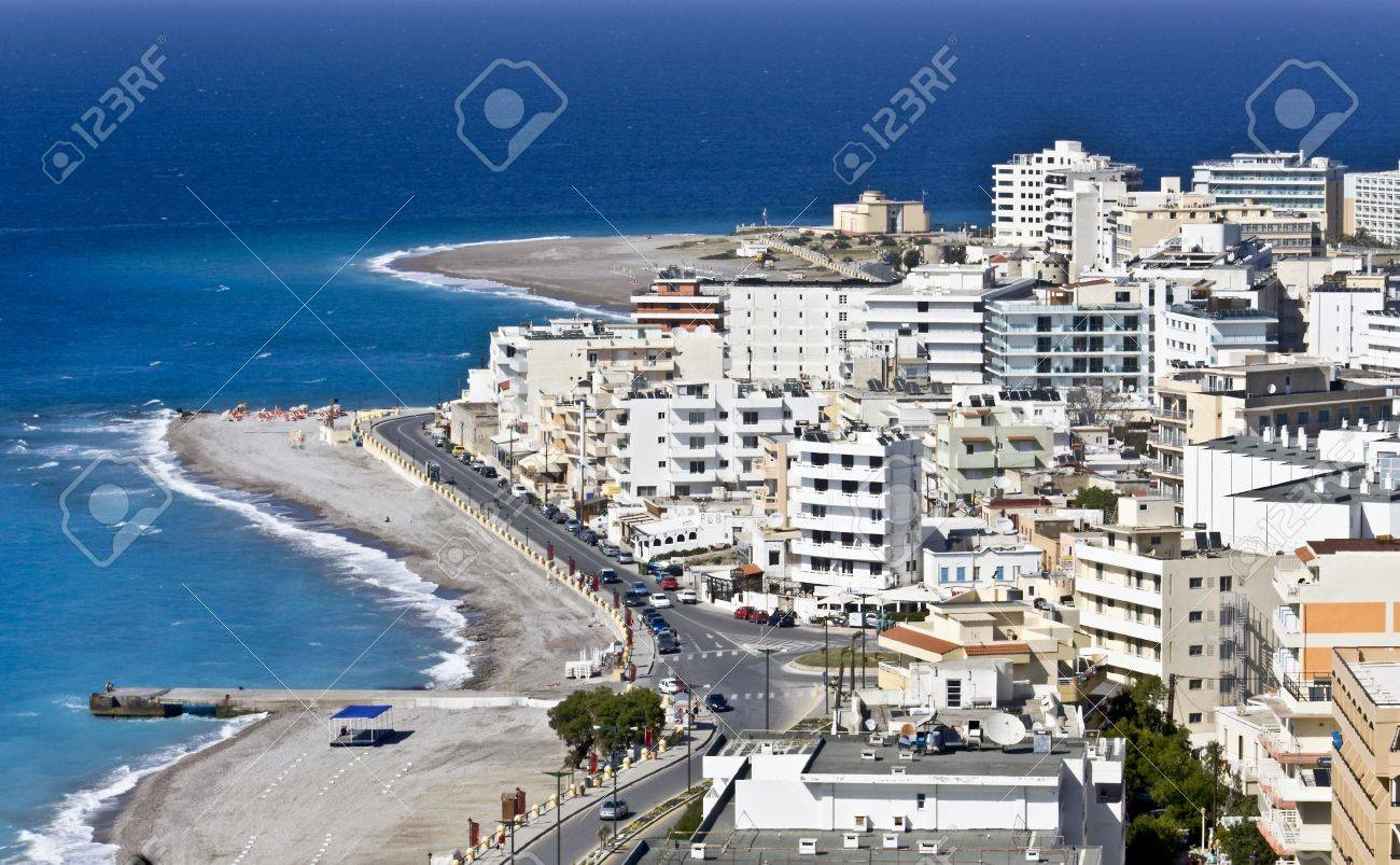 Famous resort of Rhodes island in Greece Stock Photo - 16187335
