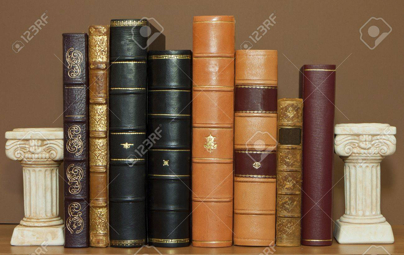Old antique leather books