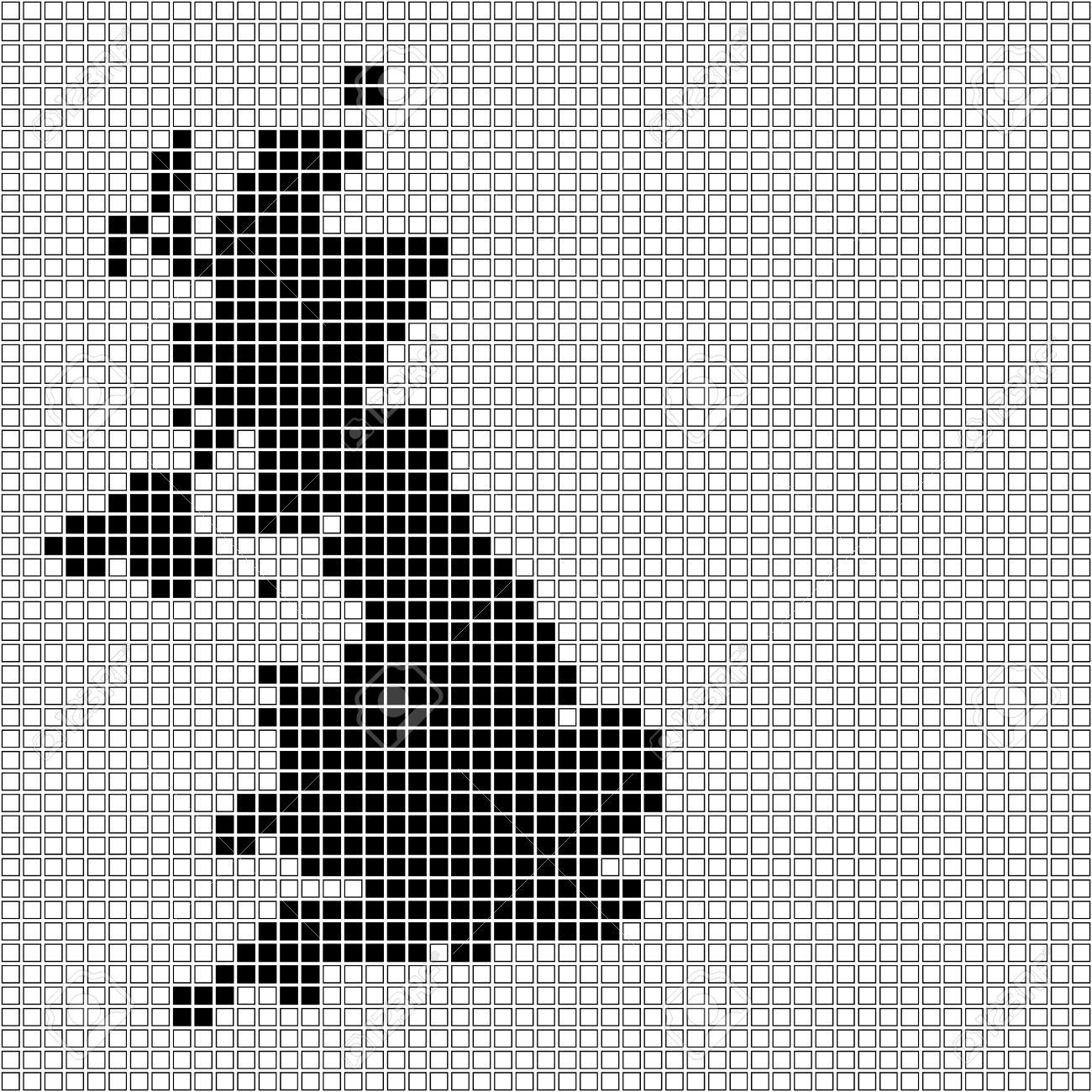 Pixel Art Of United Kingdom Black And White
